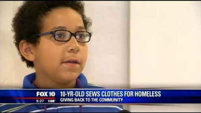 Young Boy Sews Clothes for Homeless