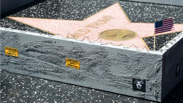 Artist Builds Wall Around Trump's Hollywood Star