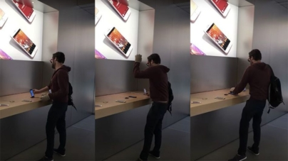 Angry Man Smashes Every iPhone at Apple Store